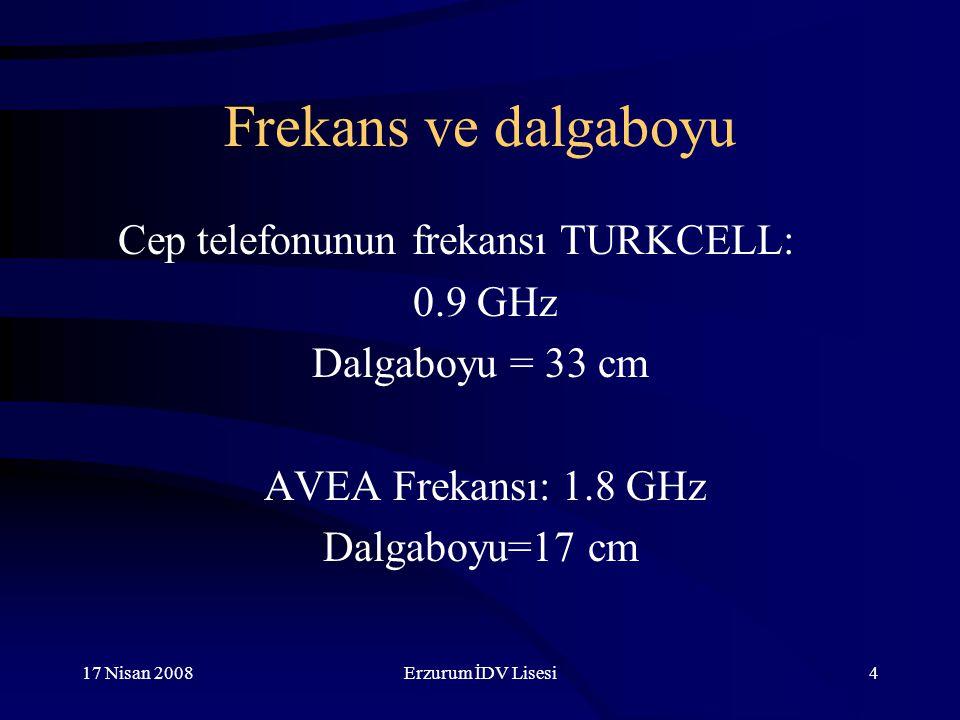 Frekans ve dalgaboyu Cep telefonunun frekansı TURKCELL: 0.9 GHz