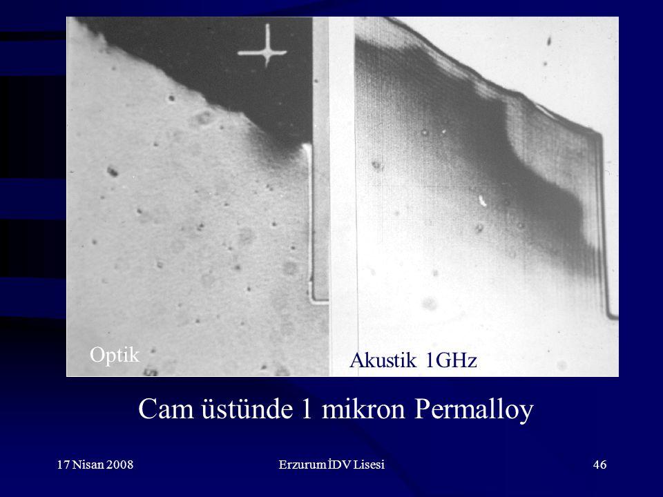 Cam üstünde 1 mikron Permalloy
