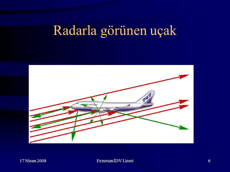 Radarla görünen uçak 17 Nisan 2008 Erzurum İDV Lisesi