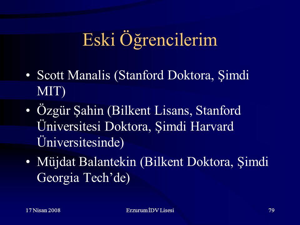 Eski Öğrencilerim Scott Manalis (Stanford Doktora, Şimdi MIT)