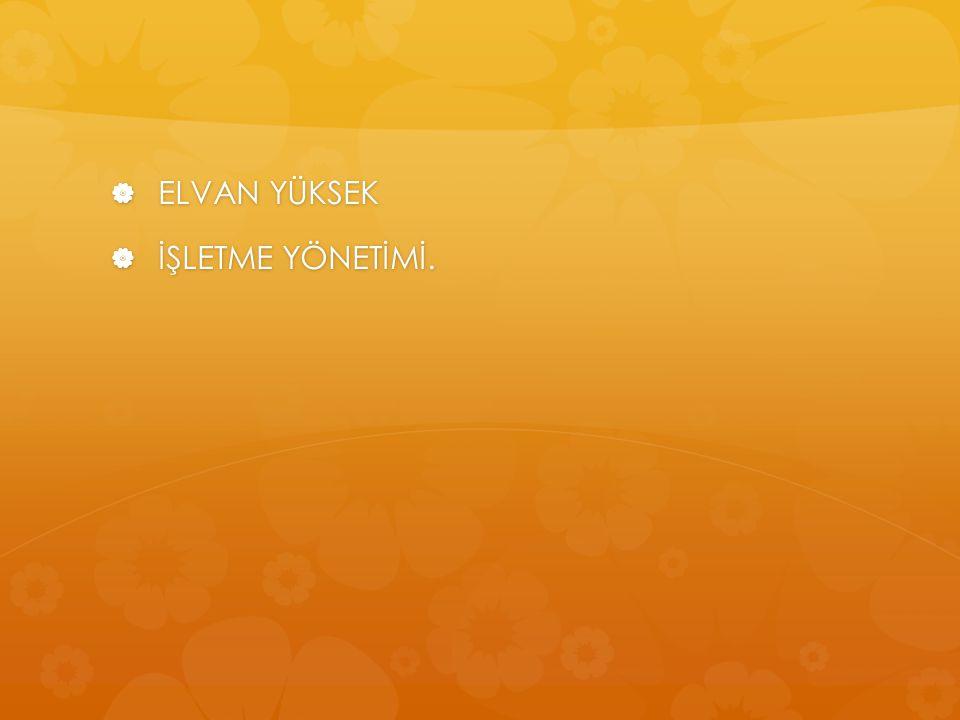 ELVAN YÜKSEK İŞLETME YÖNETİMİ.