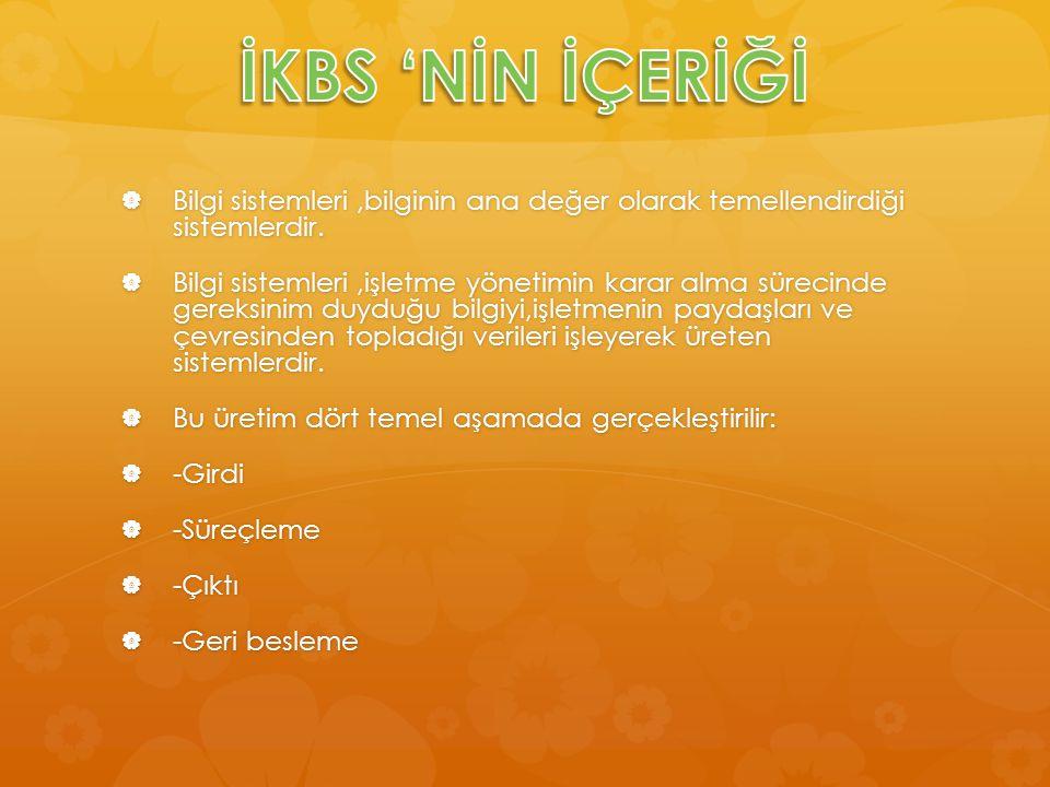 İKBS 'NİN İÇERİĞİ Bilgi sistemleri ,bilginin ana değer olarak temellendirdiği sistemlerdir.
