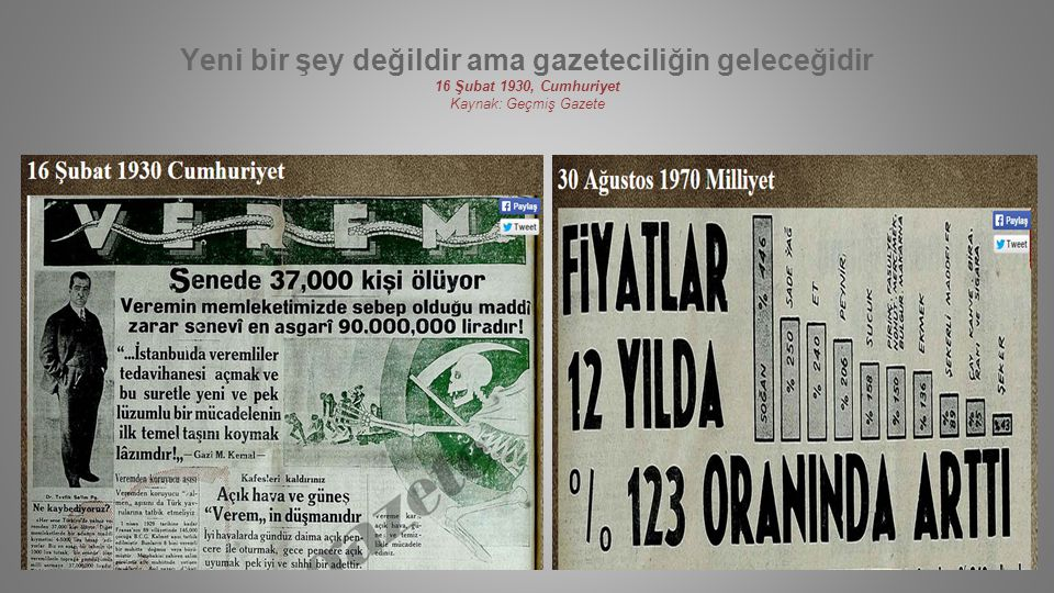 Yeni bir şey değildir ama gazeteciliğin geleceğidir 16 Şubat 1930, Cumhuriyet Kaynak: Geçmiş Gazete