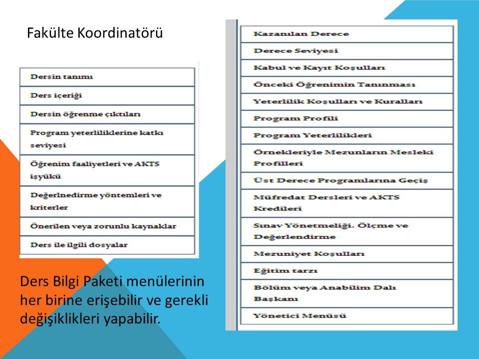 Fakülte Koordinatörü Ders Bilgi Paketi menülerinin her birine erişebilir ve gerekli değişiklikleri yapabilir.