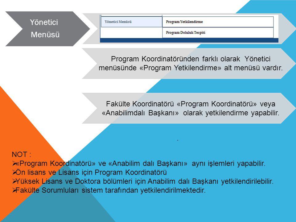 Yönetici Menüsü. Program Koordinatöründen farklı olarak Yönetici menüsünde «Program Yetkilendirme» alt menüsü vardır.