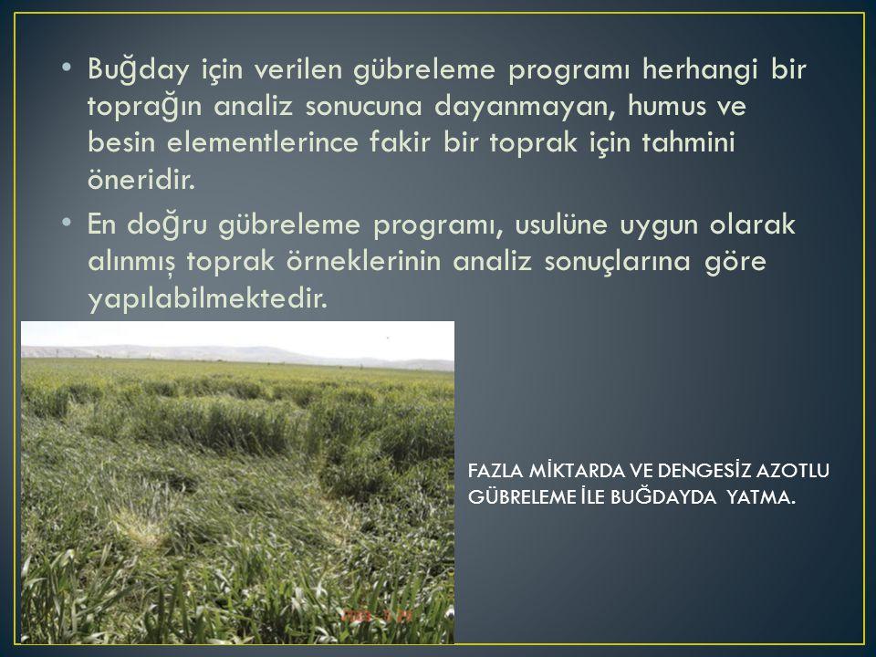 Buğday için verilen gübreleme programı herhangi bir toprağın analiz sonucuna dayanmayan, humus ve besin elementlerince fakir bir toprak için tahmini öneridir.