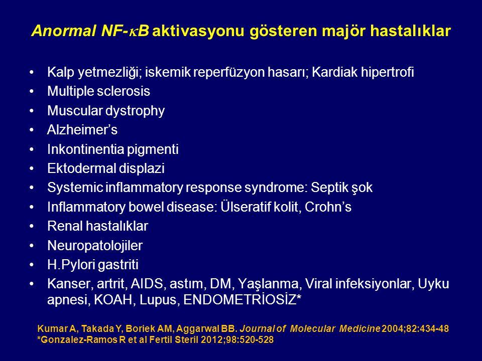 Anormal NF-kB aktivasyonu gösteren majör hastalıklar