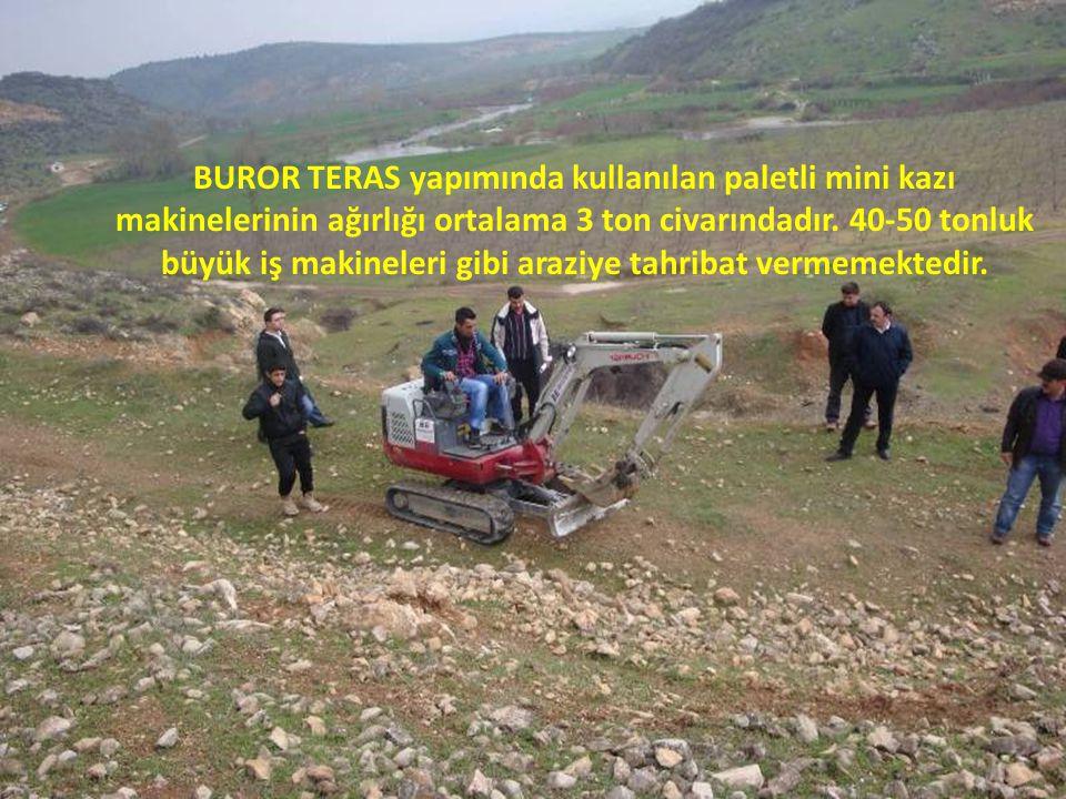 BUROR TERAS yapımında kullanılan paletli mini kazı makinelerinin ağırlığı ortalama 3 ton civarındadır.