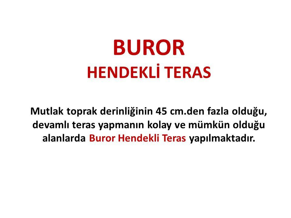 BUROR HENDEKLİ TERAS Mutlak toprak derinliğinin 45 cm