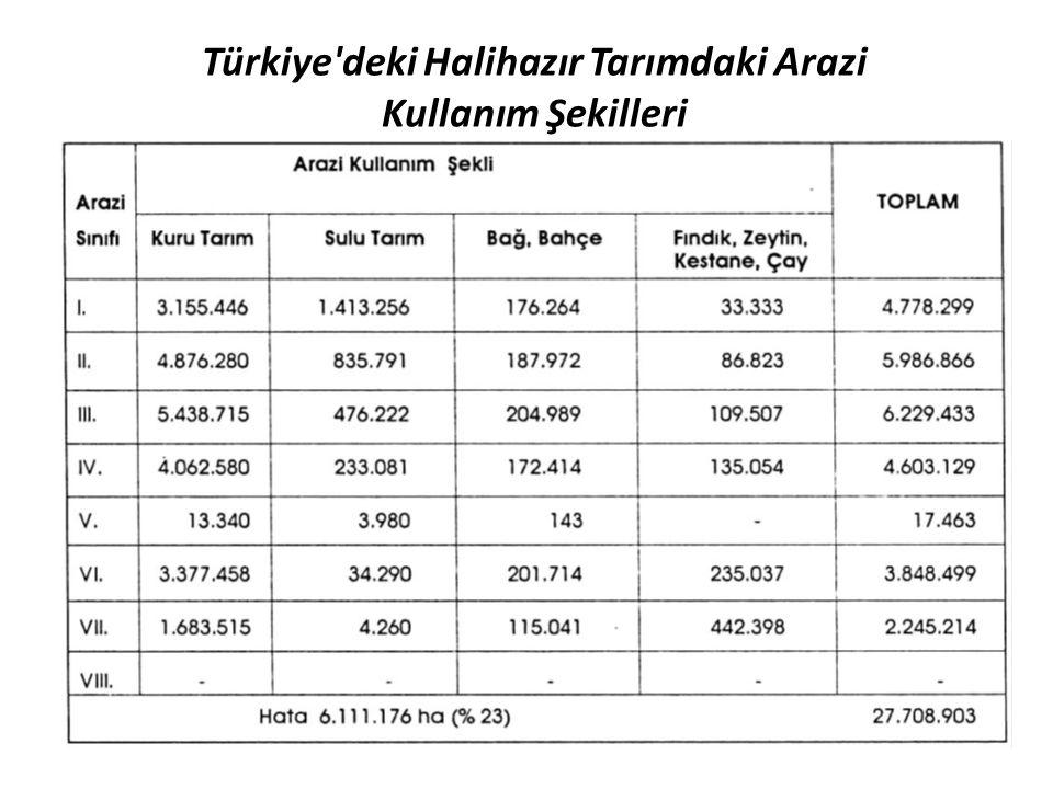 Türkiye deki Halihazır Tarımdaki Arazi Kullanım Şekilleri