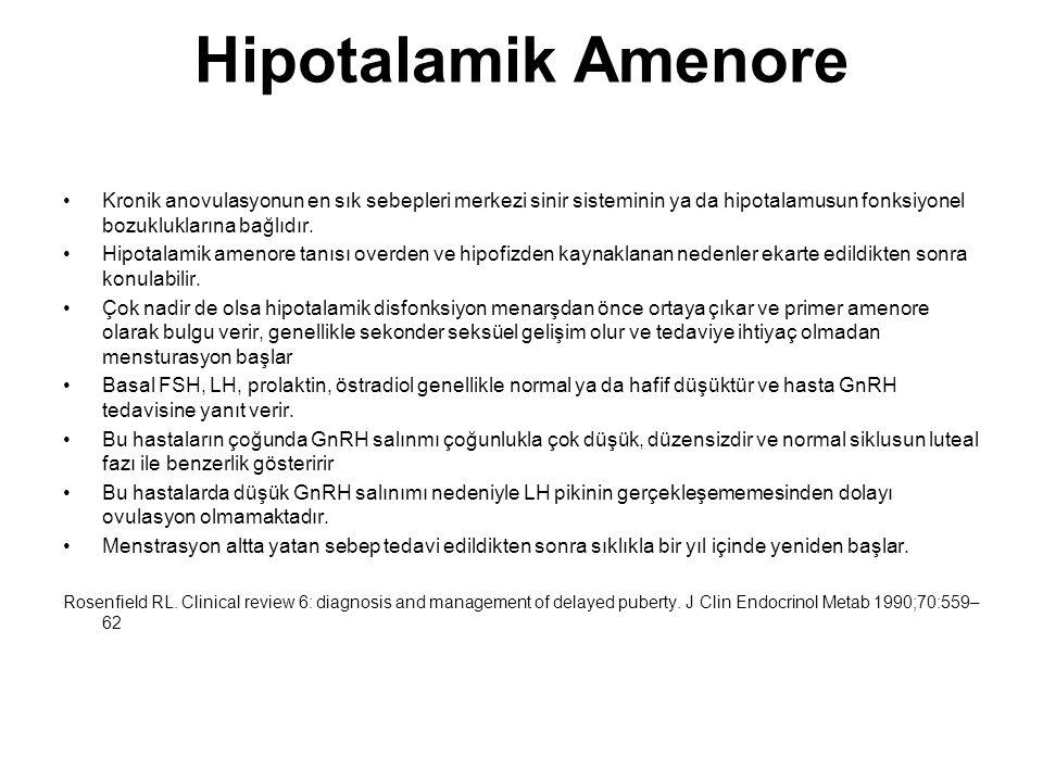 Hipotalamik Amenore Kronik anovulasyonun en sık sebepleri merkezi sinir sisteminin ya da hipotalamusun fonksiyonel bozukluklarına bağlıdır.