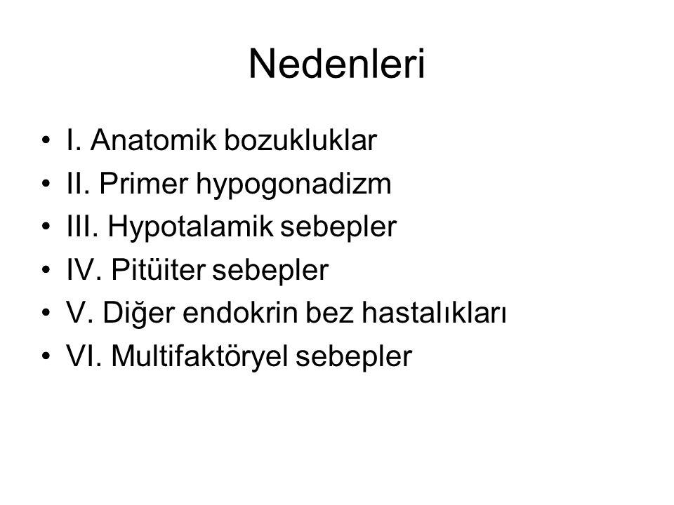 Nedenleri I. Anatomik bozukluklar II. Primer hypogonadizm