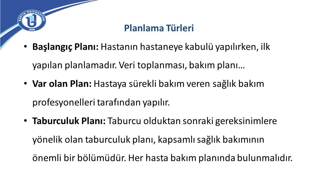 Planlama Türleri Başlangıç Planı: Hastanın hastaneye kabulü yapılırken, ilk yapılan planlamadır. Veri toplanması, bakım planı…