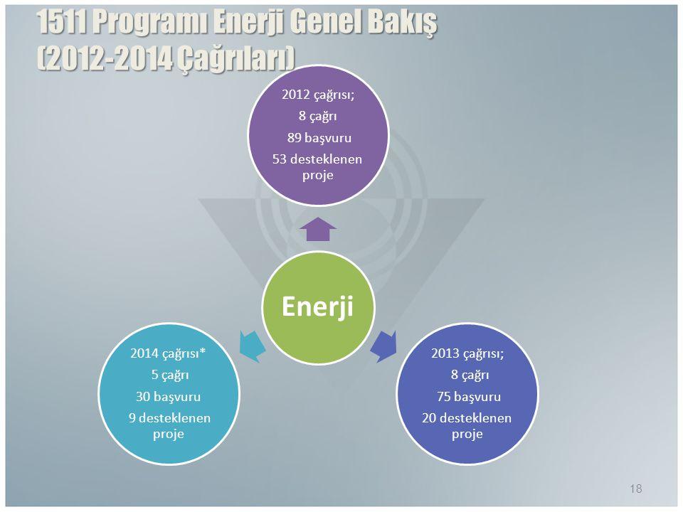1511 Programı Enerji Genel Bakış (2012-2014 Çağrıları)