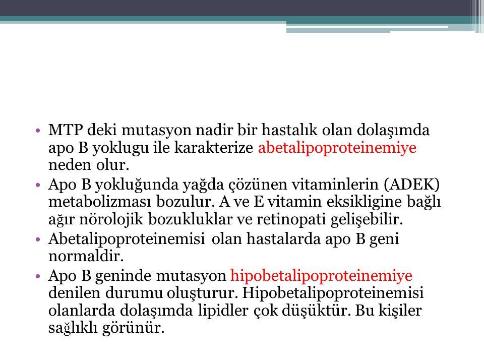 MTP deki mutasyon nadir bir hastalık olan dolaşımda apo B yoklugu ile karakterize abetalipoproteinemiye neden olur.