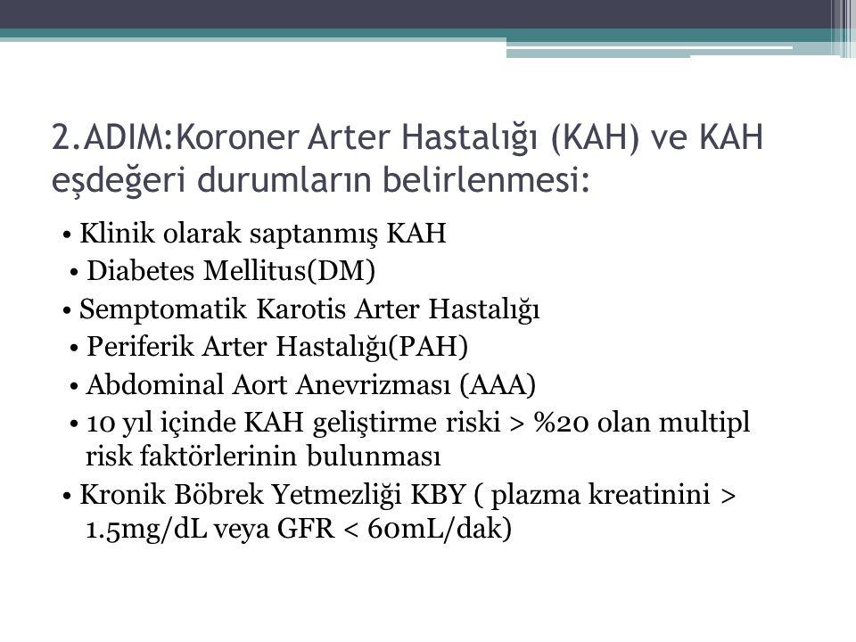 2.ADIM:Koroner Arter Hastalığı (KAH) ve KAH eşdeğeri durumların belirlenmesi: