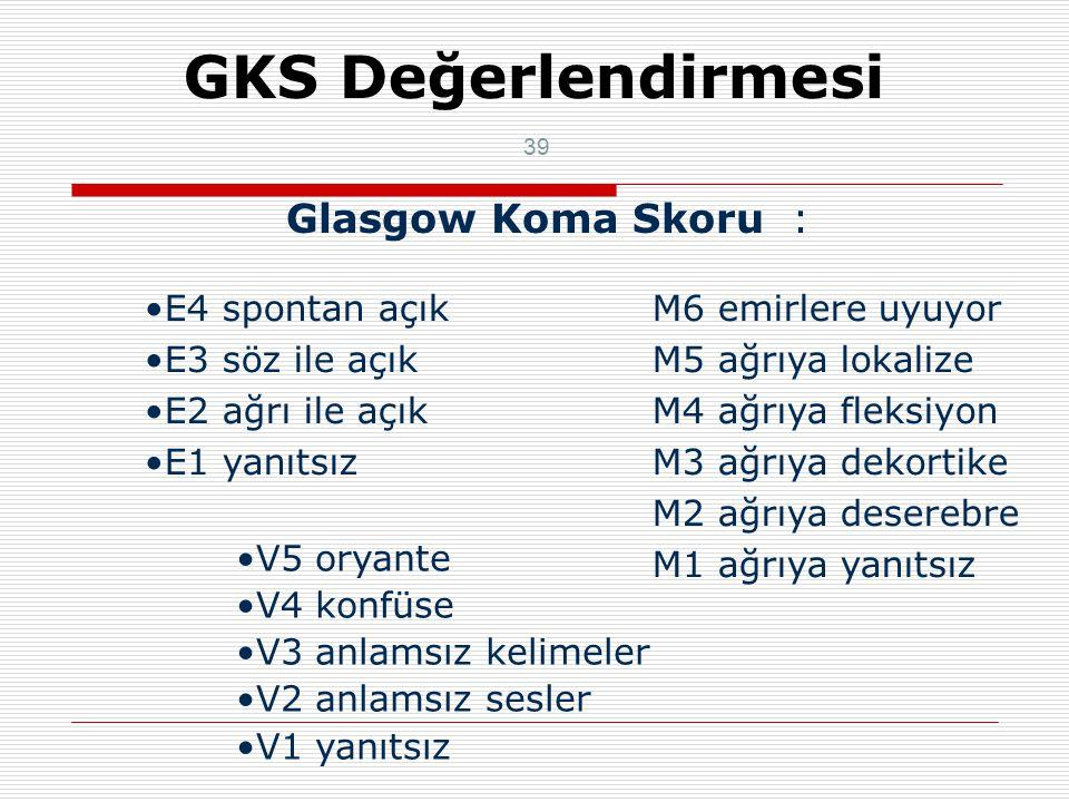 GKS Değerlendirmesi Glasgow Koma Skoru : E4 spontan açık