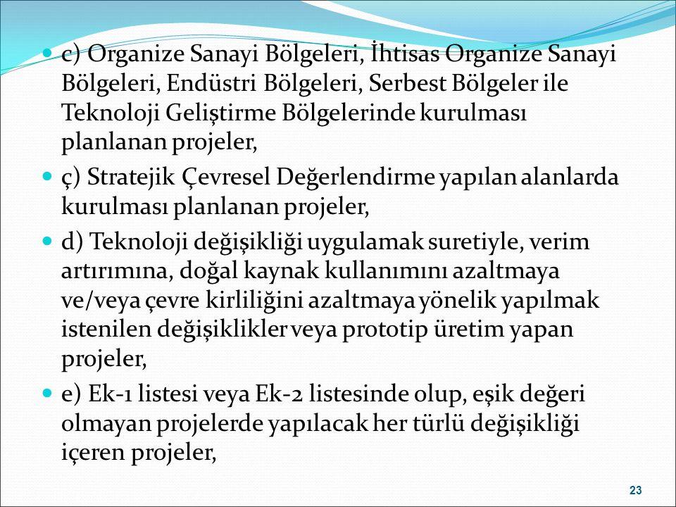 c) Organize Sanayi Bölgeleri, İhtisas Organize Sanayi Bölgeleri, Endüstri Bölgeleri, Serbest Bölgeler ile Teknoloji Geliştirme Bölgelerinde kurulması planlanan projeler,