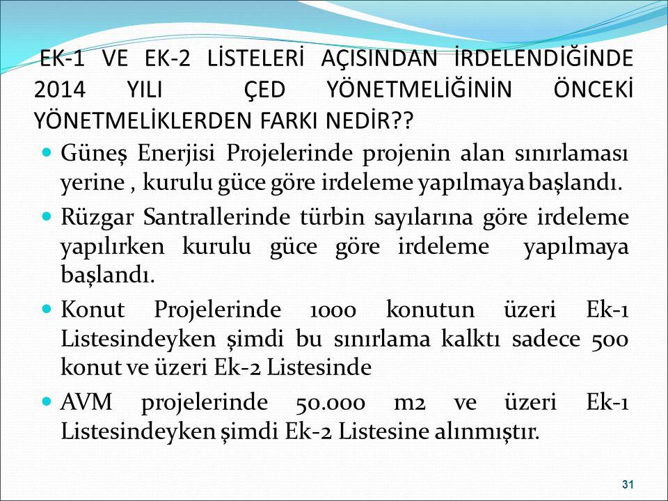 EK-1 VE EK-2 LİSTELERİ AÇISINDAN İRDELENDİĞİNDE 2014 YILI ÇED YÖNETMELİĞİNİN ÖNCEKİ YÖNETMELİKLERDEN FARKI NEDİR