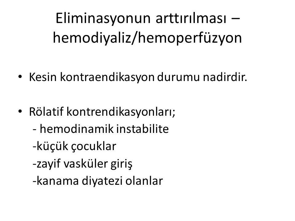 Eliminasyonun arttırılması – hemodiyaliz/hemoperfüzyon
