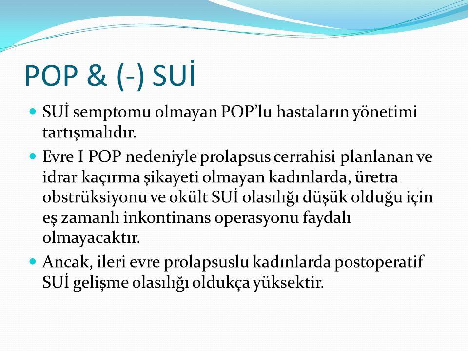 POP & (-) SUİ SUİ semptomu olmayan POP'lu hastaların yönetimi tartışmalıdır.