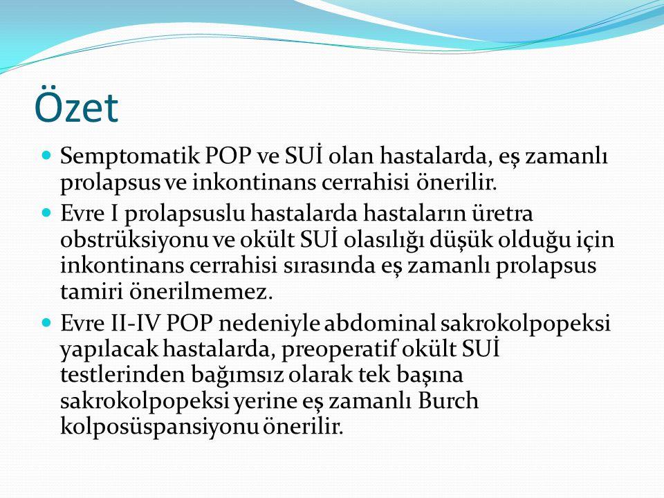 Özet Semptomatik POP ve SUİ olan hastalarda, eş zamanlı prolapsus ve inkontinans cerrahisi önerilir.