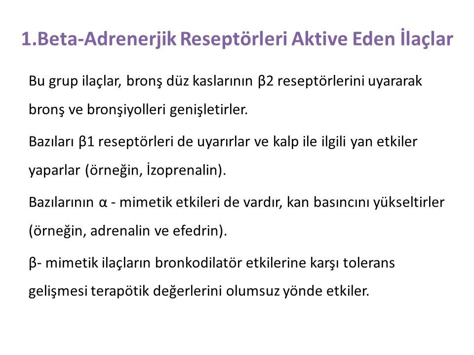 1.Beta-Adrenerjik Reseptörleri Aktive Eden İlaçlar