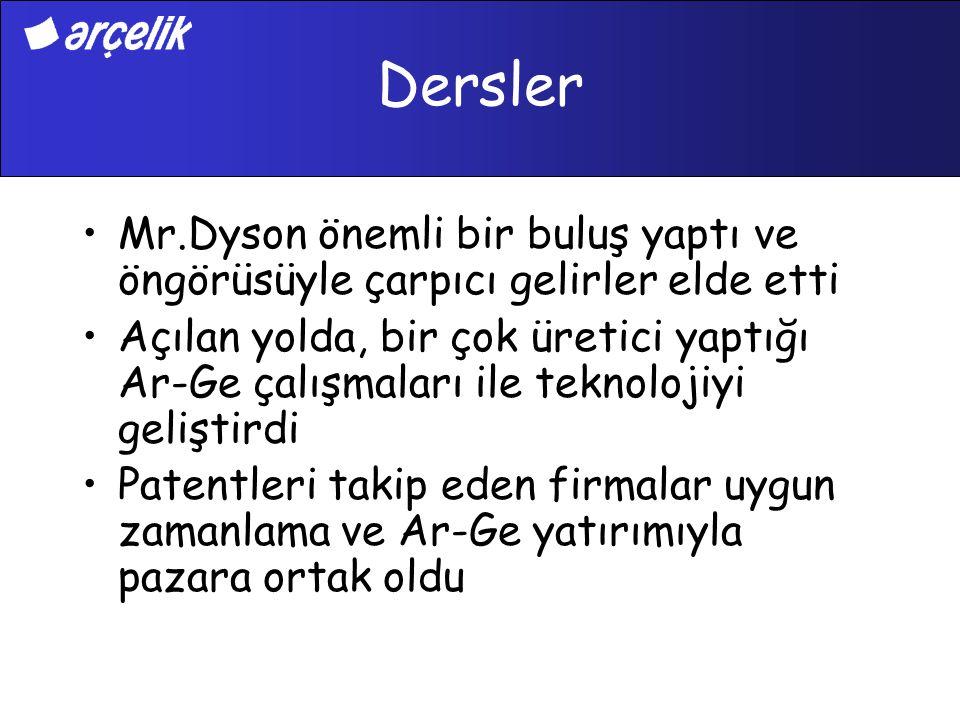 Dersler Mr.Dyson önemli bir buluş yaptı ve öngörüsüyle çarpıcı gelirler elde etti.