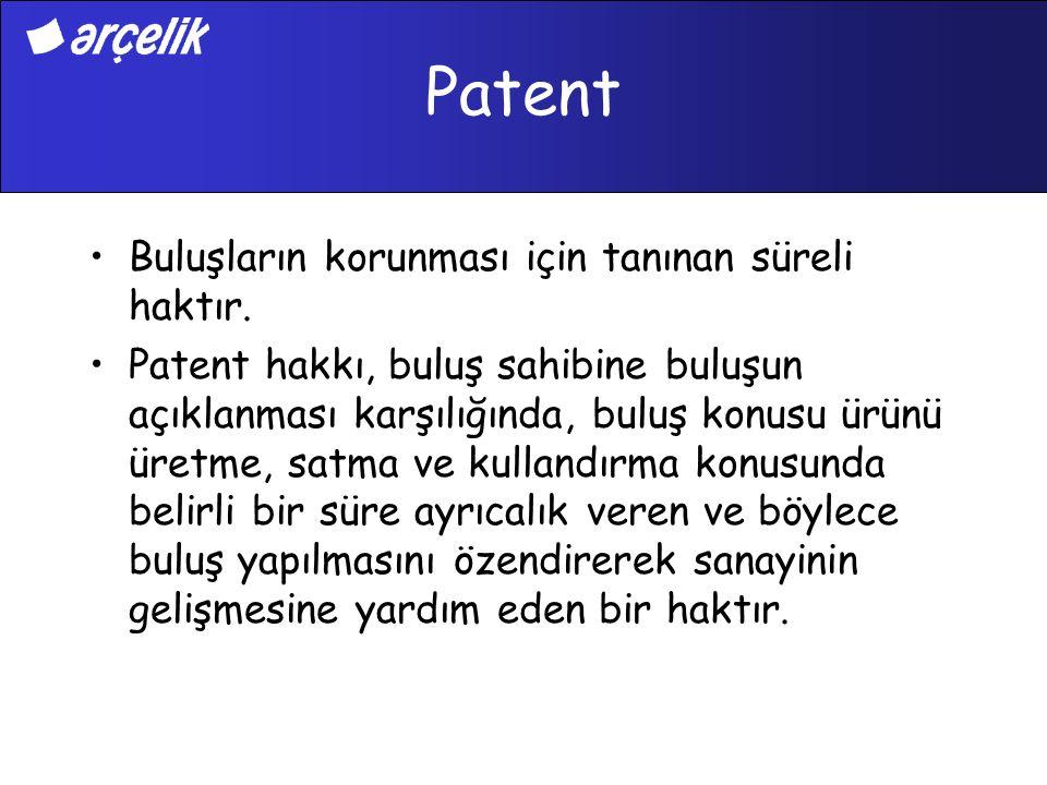 Patent Buluşların korunması için tanınan süreli haktır.