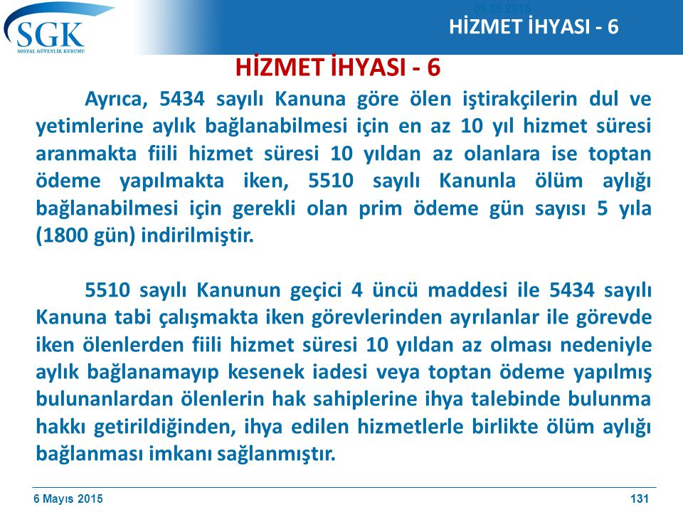 HİZMET İHYASI - 6 HİZMET İHYASI - 6