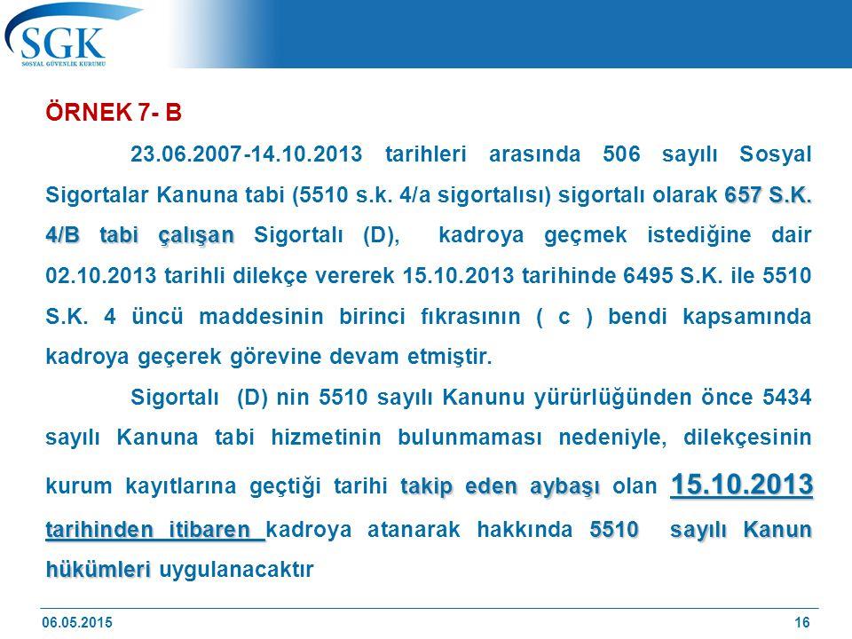 ÖRNEK 7- B