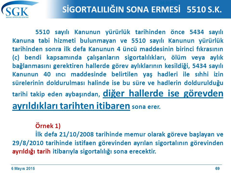 SİGORTALILIĞIN SONA ERMESİ 5510 S.K.