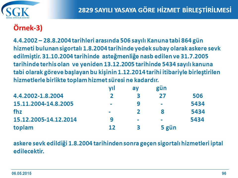 Örnek-3) 2829 SAYILI YASAYA GÖRE HİZMET BİRLEŞTİRİLMESİ
