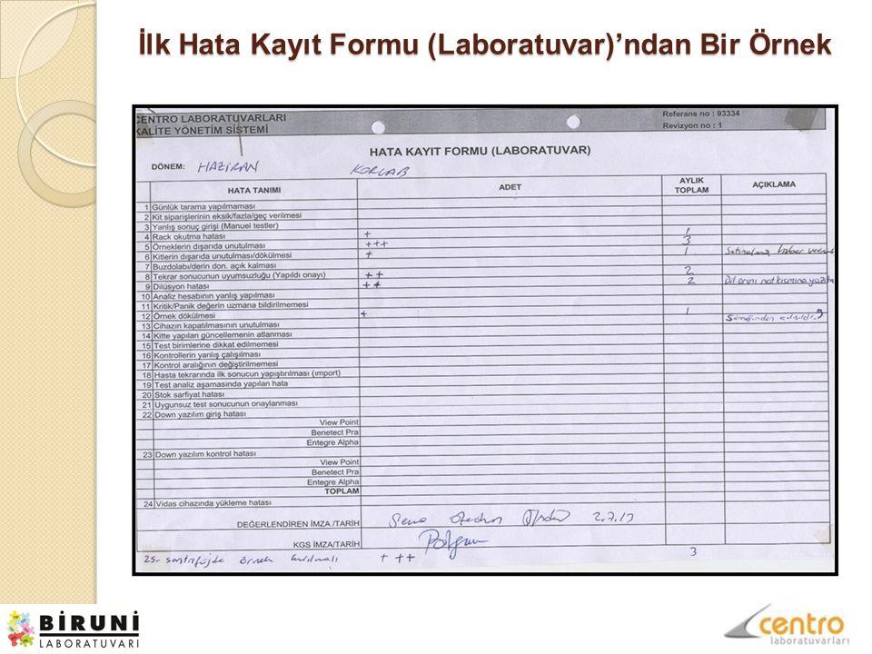 İlk Hata Kayıt Formu (Laboratuvar)'ndan Bir Örnek