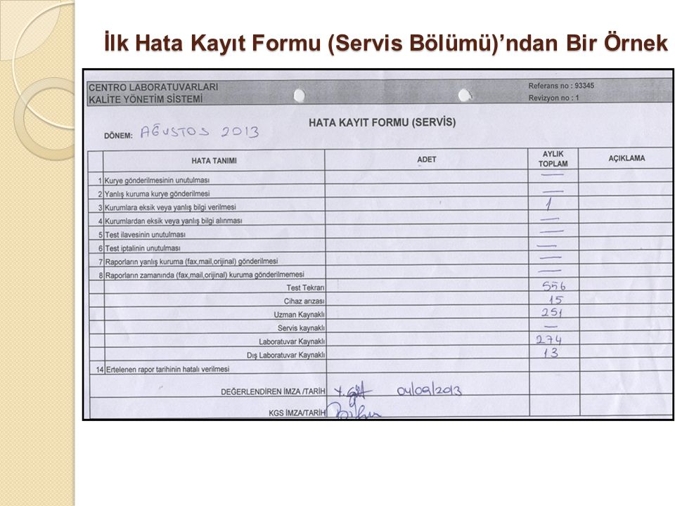 İlk Hata Kayıt Formu (Servis Bölümü)'ndan Bir Örnek