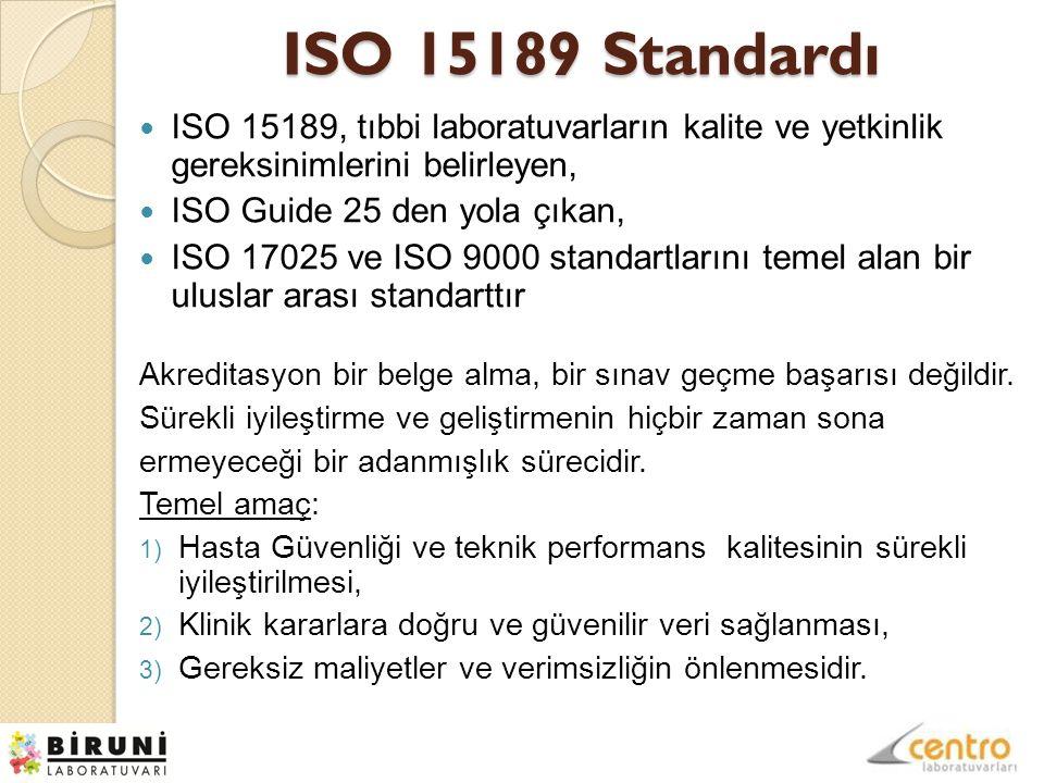 ISO 15189 Standardı ISO 15189, tıbbi laboratuvarların kalite ve yetkinlik gereksinimlerini belirleyen,