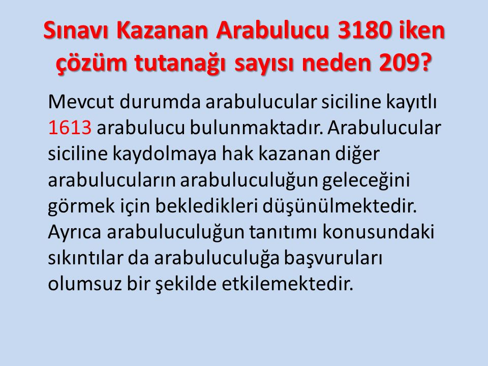 Sınavı Kazanan Arabulucu 3180 iken çözüm tutanağı sayısı neden 209