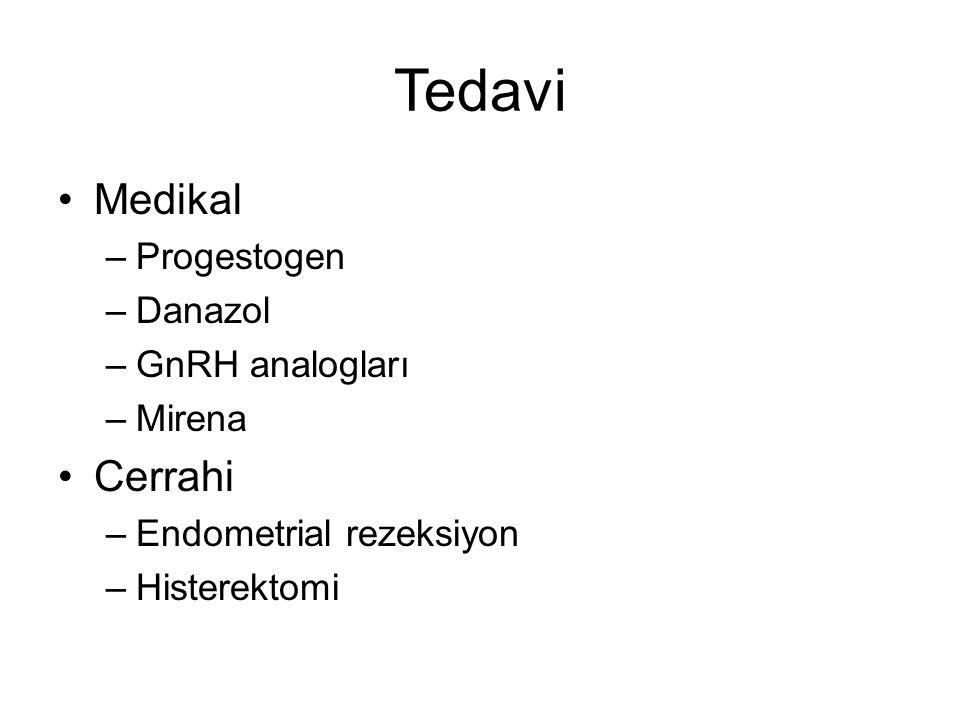 Tedavi Medikal Cerrahi Progestogen Danazol GnRH analogları Mirena