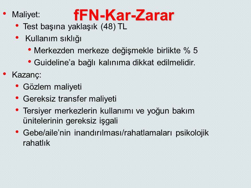 fFN-Kar-Zarar Maliyet: Test başına yaklaşık (48) TL Kullanım sıklığı