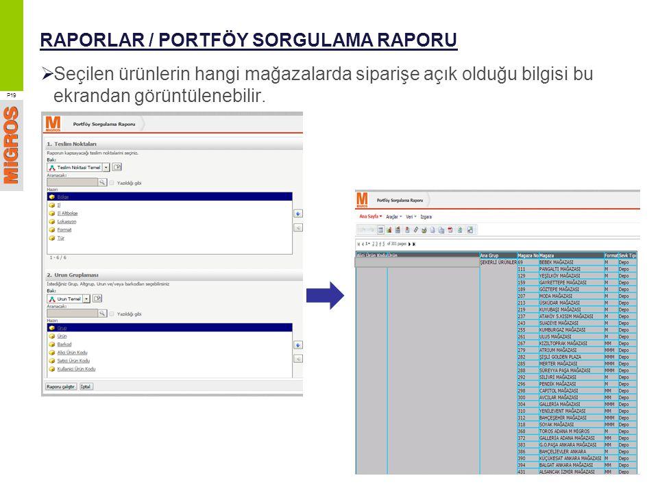 RAPORLAR / PORTFÖY SORGULAMA RAPORU