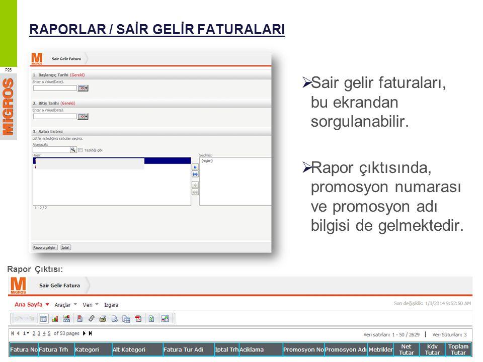 RAPORLAR / SAİR GELİR FATURALARI