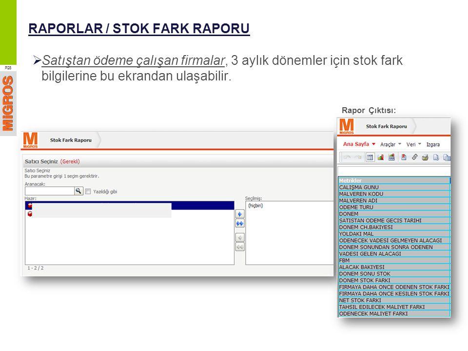 RAPORLAR / STOK FARK RAPORU