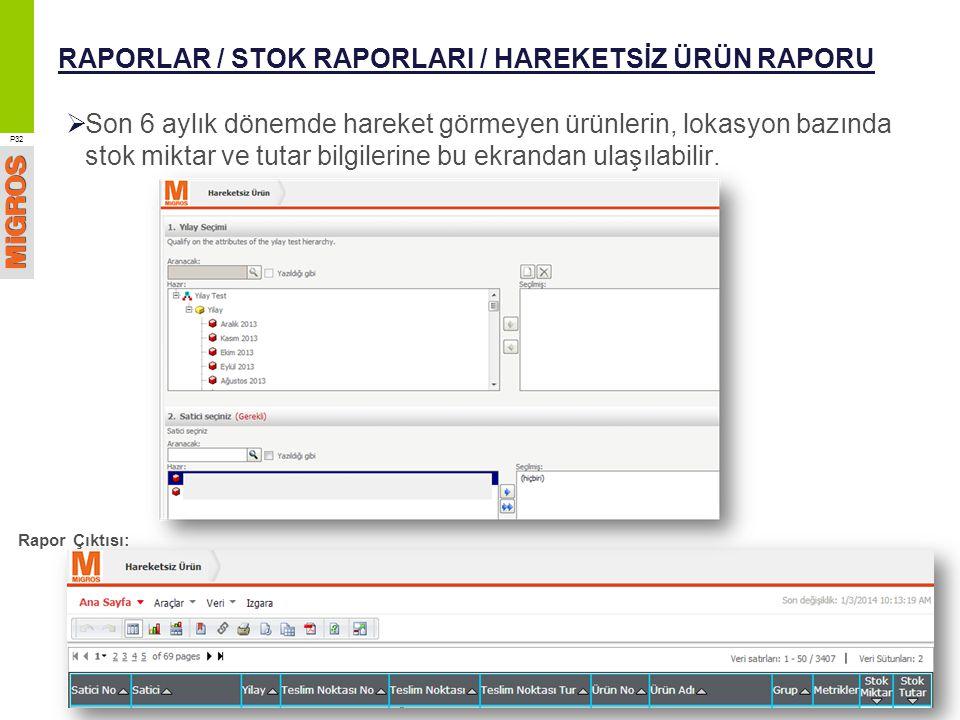 RAPORLAR / STOK RAPORLARI / HAREKETSİZ ÜRÜN RAPORU