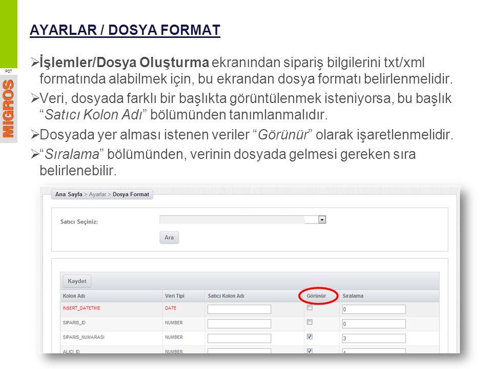 AYARLAR / DOSYA FORMAT