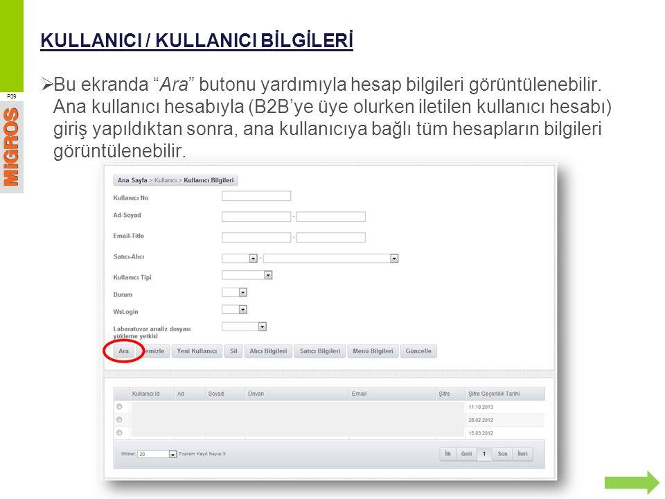 KULLANICI / KULLANICI BİLGİLERİ