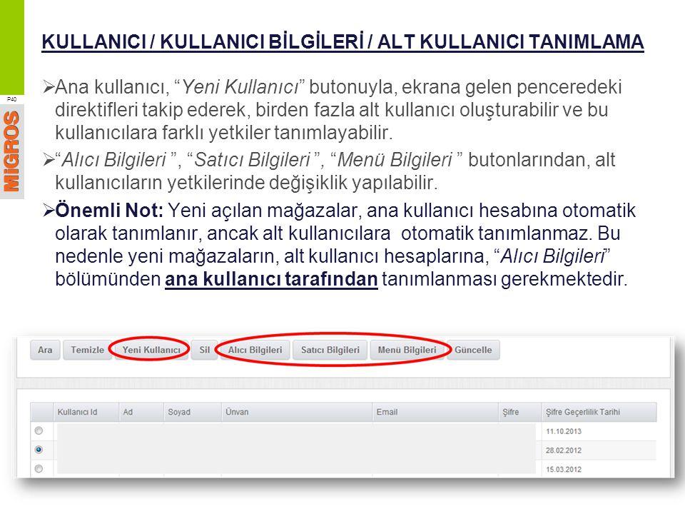 KULLANICI / KULLANICI BİLGİLERİ / ALT KULLANICI TANIMLAMA