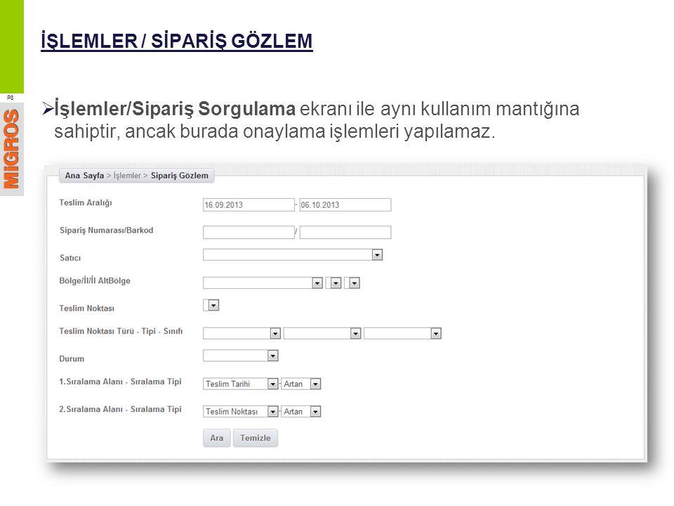 İŞLEMLER / SİPARİŞ GÖZLEM