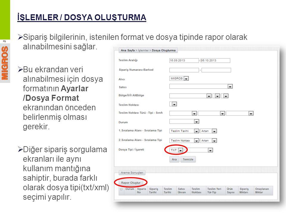 İŞLEMLER / DOSYA OLUŞTURMA