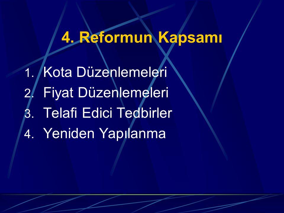4. Reformun Kapsamı Kota Düzenlemeleri Fiyat Düzenlemeleri