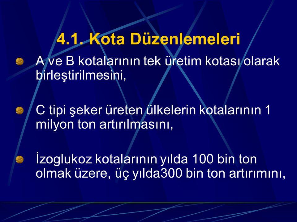 4.1. Kota Düzenlemeleri A ve B kotalarının tek üretim kotası olarak birleştirilmesini,